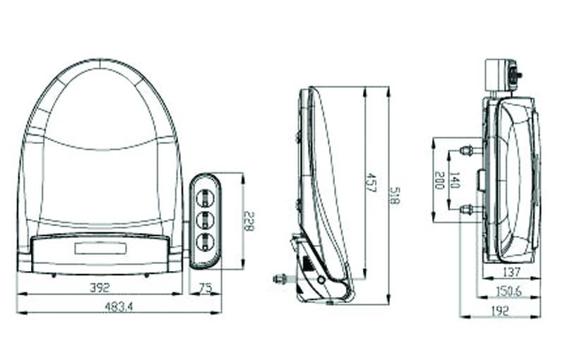 Механическая крышка-биде МОНА - размеры