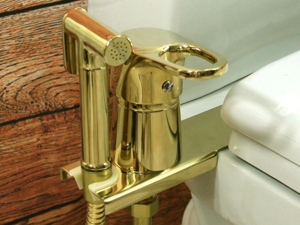 Биде-приставка с гигиенической лейкой, цвет золотой